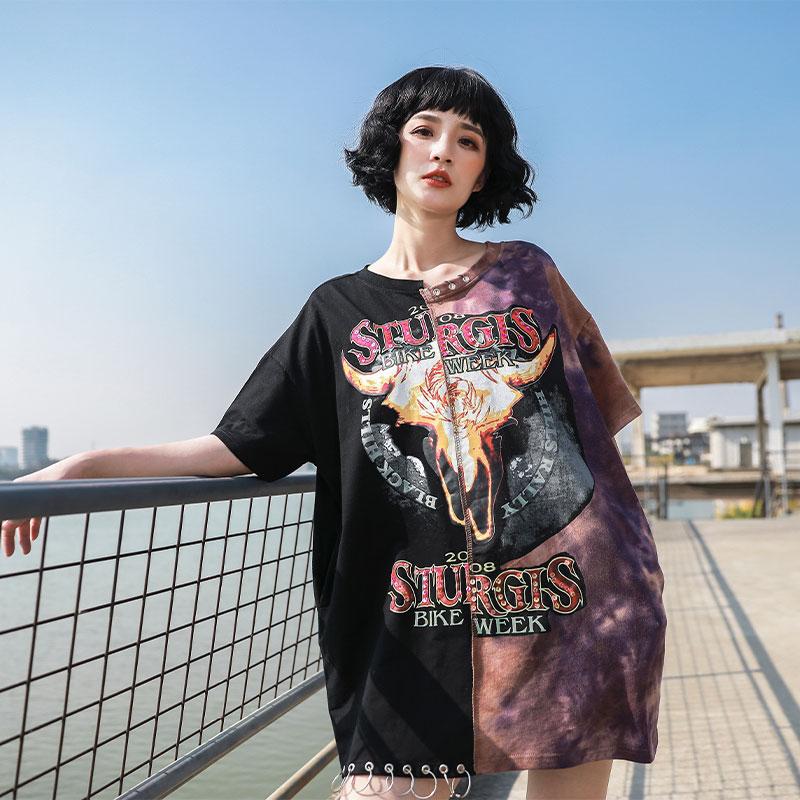 TREND-Setter 2020 Summer Fashion Hip Hop Style Metal Ring T shirt Women Punk Pattern Tee Short Sleeve Tops