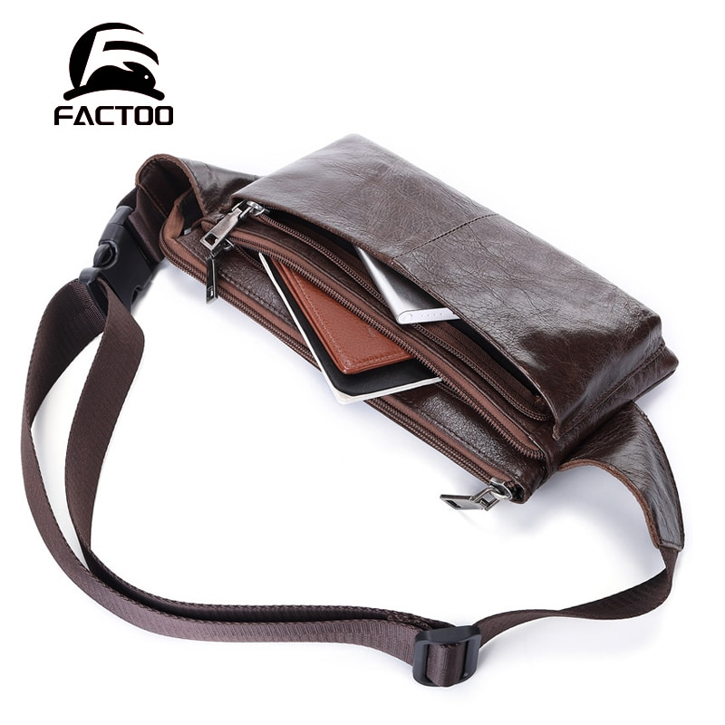 FACTOO New Leather Men's Waist Bag Shoulder Diagonal Bag Cowhide Chest Bag Fashion Leisure   Sports Mountaineering Bag