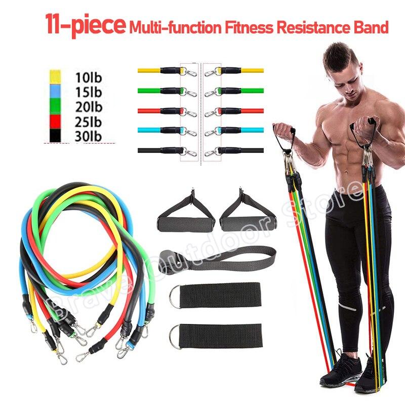 11 шт./компл., измеритель сопротивления, Тяговая веревка, упражнения для фитнеса, латексные трубки, полосы для спортзала, бокса, йоги, бодибилд...