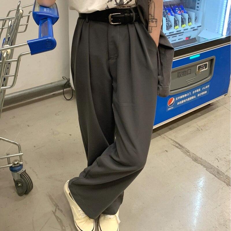 Women's Casual Pants Grey Suit Floor Mop 2021 Korean Version Autumn New High Waist Slim Straight Wid