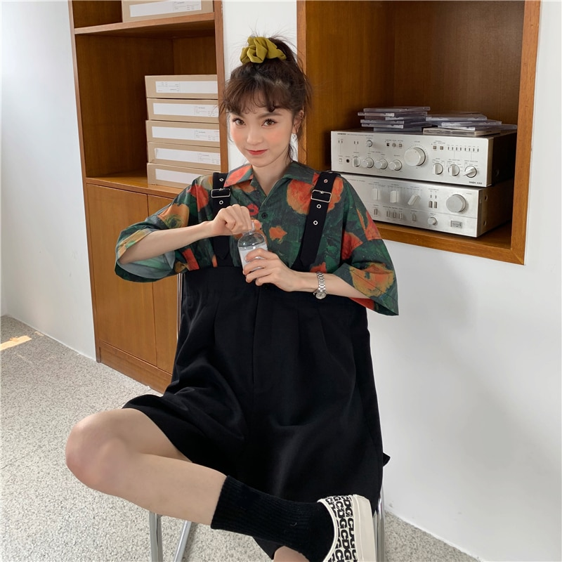 Spring 2021 New Chic Student Short-Sleeved Shirt + Wide-Leg Suspender Pants Youthful-Looking Two-Pie