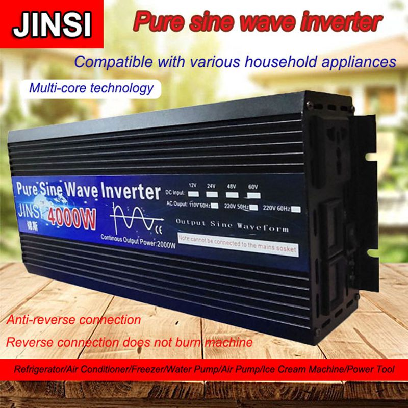 Inversor de onda sinusoidal pura 12V/24V 220V 3000w 4000w transformador de voltaje inversor de energía solar DC12V a AC 220V convertidor LED