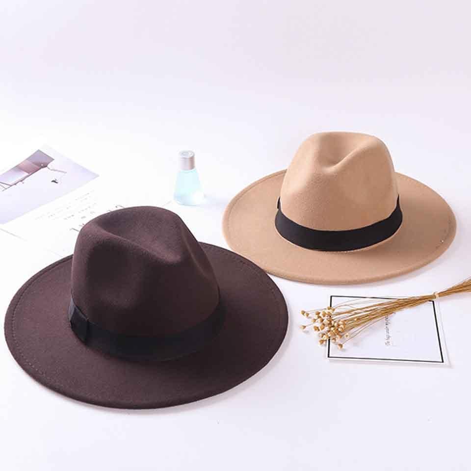 Sombrero Fedora a la moda con cinturón negro para mujer, sombrero de fieltro para hombre, sombreros para la Iglesia, sombrero de fieltro Vintage para fiesta, sombrero de vaquero, sombrero de ala ancha de Panamá