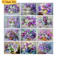ynx cross stitch 5d diy diamond painting flowers purple lavender home decor new years gift full square mosaic embroidery art