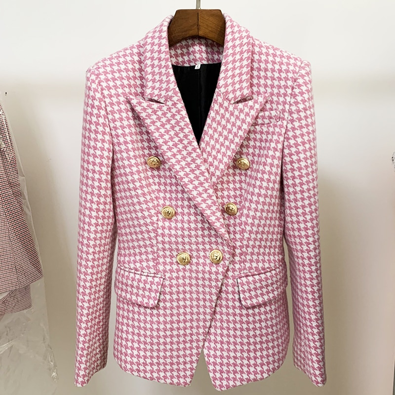 HIGH STREET Newest Fashion 2021 Designer Jacket Women's Double Breasted Lion Buttons Wool Tweed Houndstooth Blazer