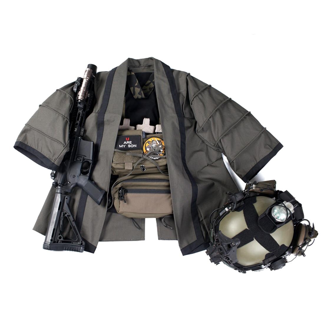 NewBACRAFT, abrigo táctico para exteriores, capa de entrenamiento, chaqueta de combate Haori, humo verde M/L