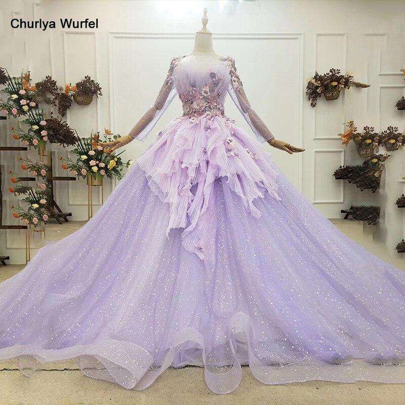Htl1753 elegante encantador ligh alta pescoço manga longa arco apliques cristal em camadas vestido de noite 2020 п