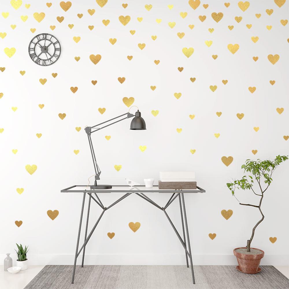 Creative Gold Heart Wall Decals For Home Decor Living Room Bedroom Vinyl Wall Stickers Diy Wallpaper Wedding Decoration Art