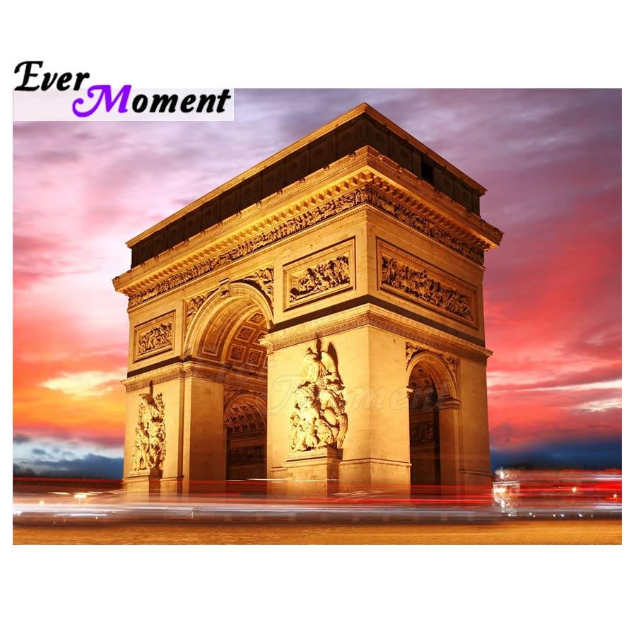 Cuadro de diamantes con diseño de puerta de arquitectura majestuosa francesa 5D DIY, pintura de bordado con diamantes, regalo para decoración del hogar 5L069
