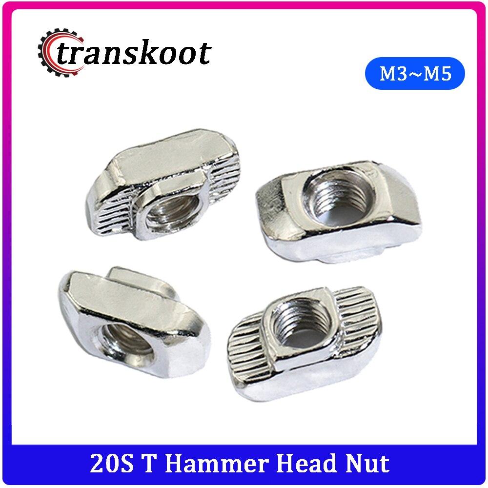 20 pces 10 pces m3 m4 m5 t porca cabeça de martelo prender porca conector niquelado para 20 série ranhura ranhura 6mm m3 m4 m5