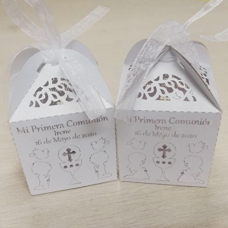 50 шт. Персонализированная Коробка Конфет для Первого Святого Причастия с именем на заказ коробка конфет с именем на заказ для праздника при...