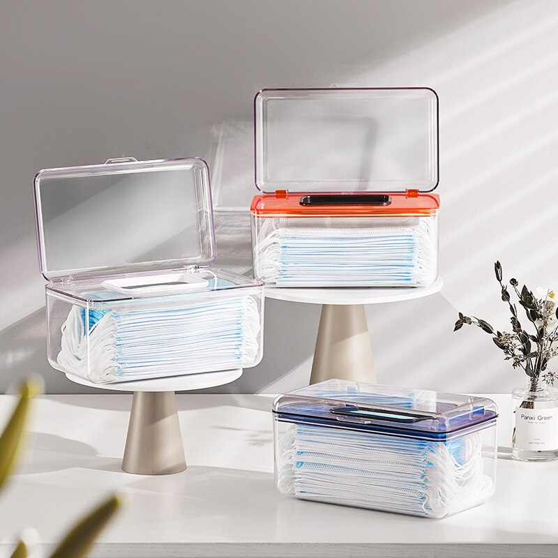 1 Piece of Transparent Pumping Box Portable Mask Storage Box with Spring Tissue Box Desktop Simple Wet Tissue Storage Box �������������� box spring