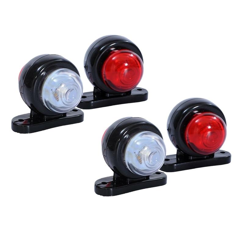 4X marcador lateral de esquina rojo blanco luces LED lámpara de contorno camión remolque Van Bus 12-24V