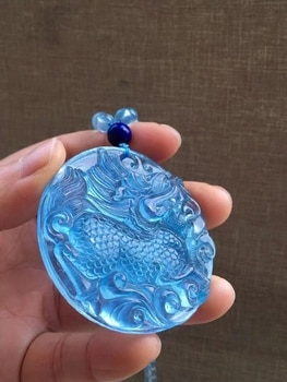 Natural Blue Aquamarine Unicorn Pendant 57*10mm Round Shape Big Women Man Clear Rare Aqumarine Round Beads Necklace AAAAAAA