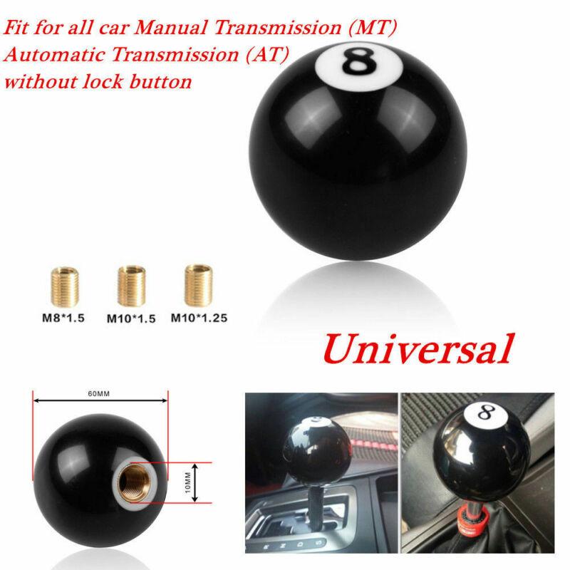 Car Accessories Organizer Black NO.8 Billiard Ball Car Gear Shift Knob Shifter Manual Lever MT AT+ Adapter For Universal Car