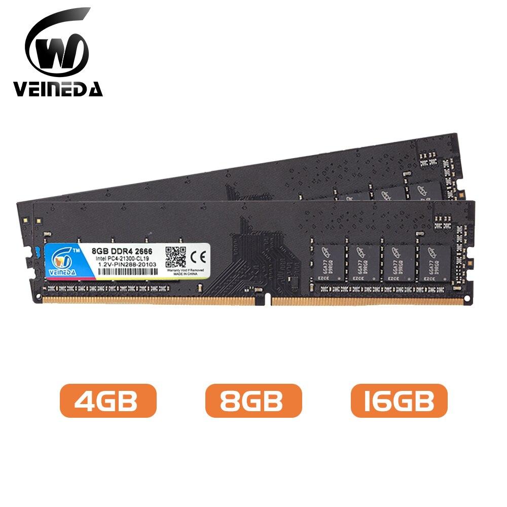 VEINEDA DIMM ram DDR4 8 GB 16gb PC4-19200 الذاكرة Ram ddr 4 2400 ل إنتل AMD DeskPC موبو ddr4 8 gb 1.2V 288pin