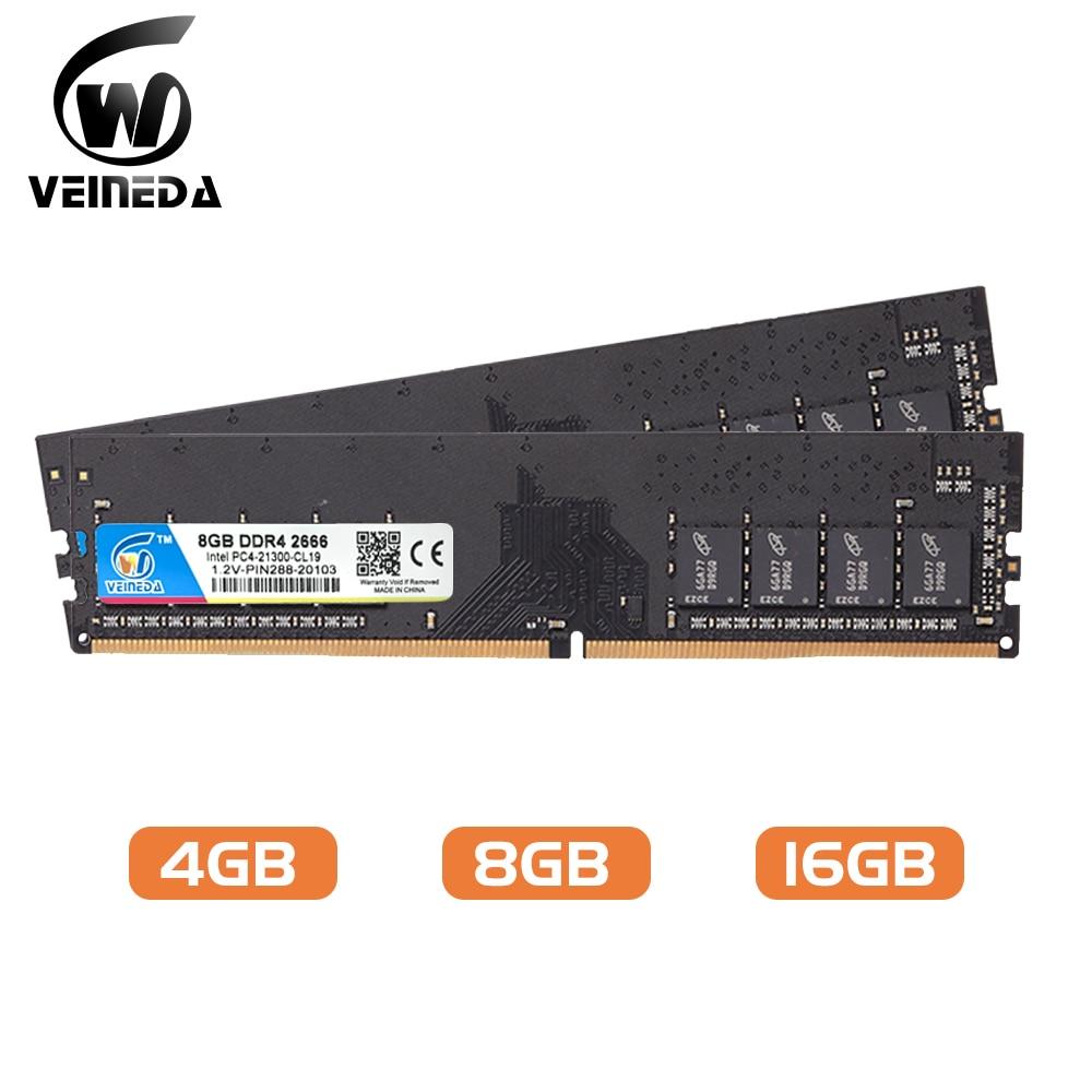 VEINEDA DIMM ram DDR4 8GB 16gb PC4-19200 Memory Ram ddr 4 2400 For Intel AMD DeskPC Mobo ddr4 8 gb 1.2V 288pin