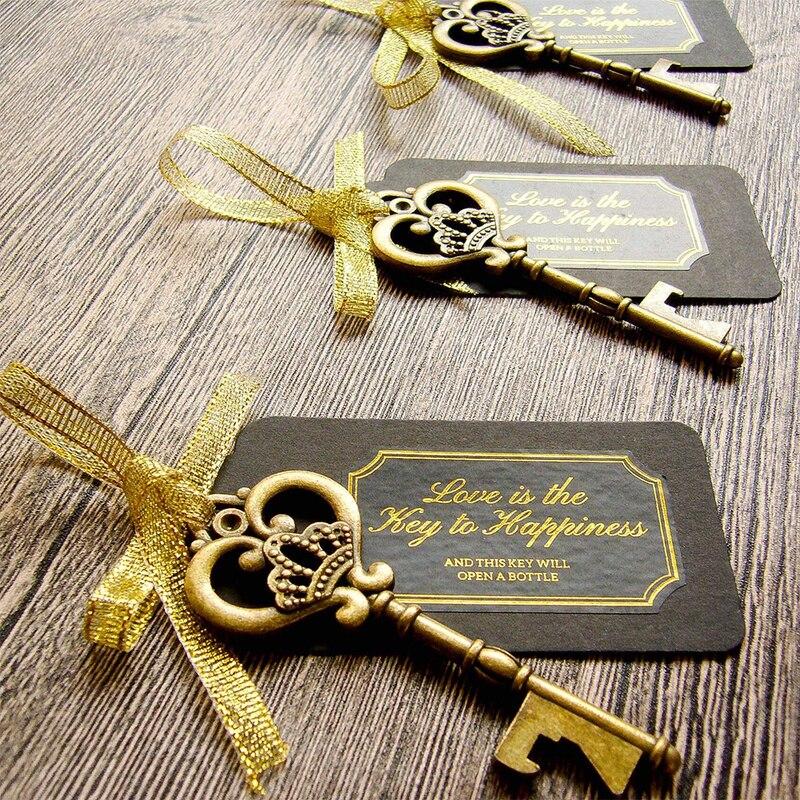 فتاحة زجاجات مع ملصقات ، حلقة مفاتيح نبيذ للزفاف ، هدايا حفلات الزفاف للضيوف ، مفتاح ، 50 قطعة