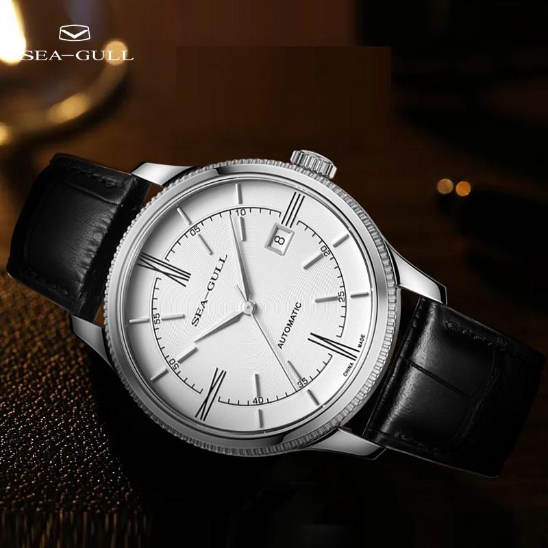 Seagull-ساعة عمل رجالية ، ميكانيكية ، أوتوماتيكية ، رفيعة للغاية ، تقويم ، ذهب وردي ، قرص كبير ، سلسلة مصمم ، 6077