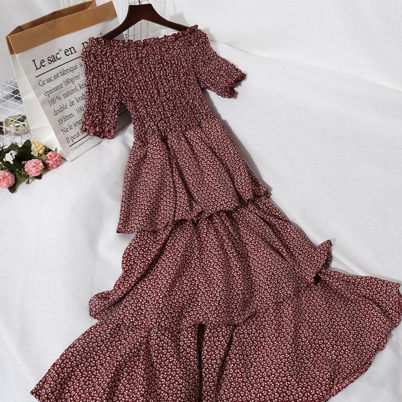 2021 Summer Women Slash Neck Flare Sleeve Pleated Ruffles Ball Gown Dress Lady Elastic Slim Waist Pullover Party Midi Chic Dress