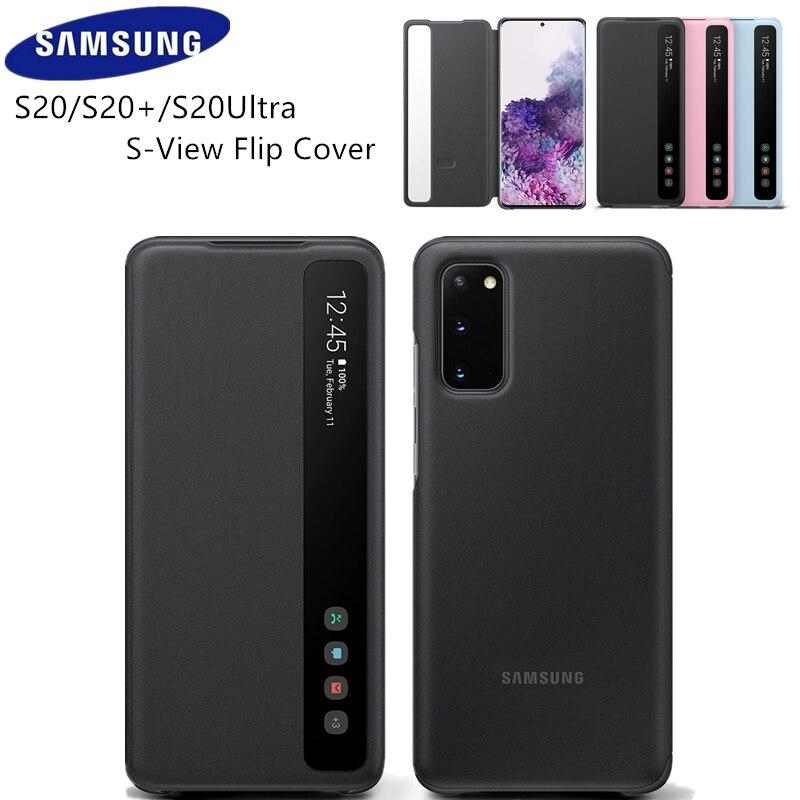 الأصلي سامسونج مرآة عرض ذكي حافظة لهاتف سامسونج جالاكسي S20/S20 +/S20 Plus/Ultra 5G الهاتف S-View LED حالات EF-ZG980