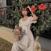 2021 summer print floral dress female high waist french sweet party beach outdoor dress summer print floral dress
