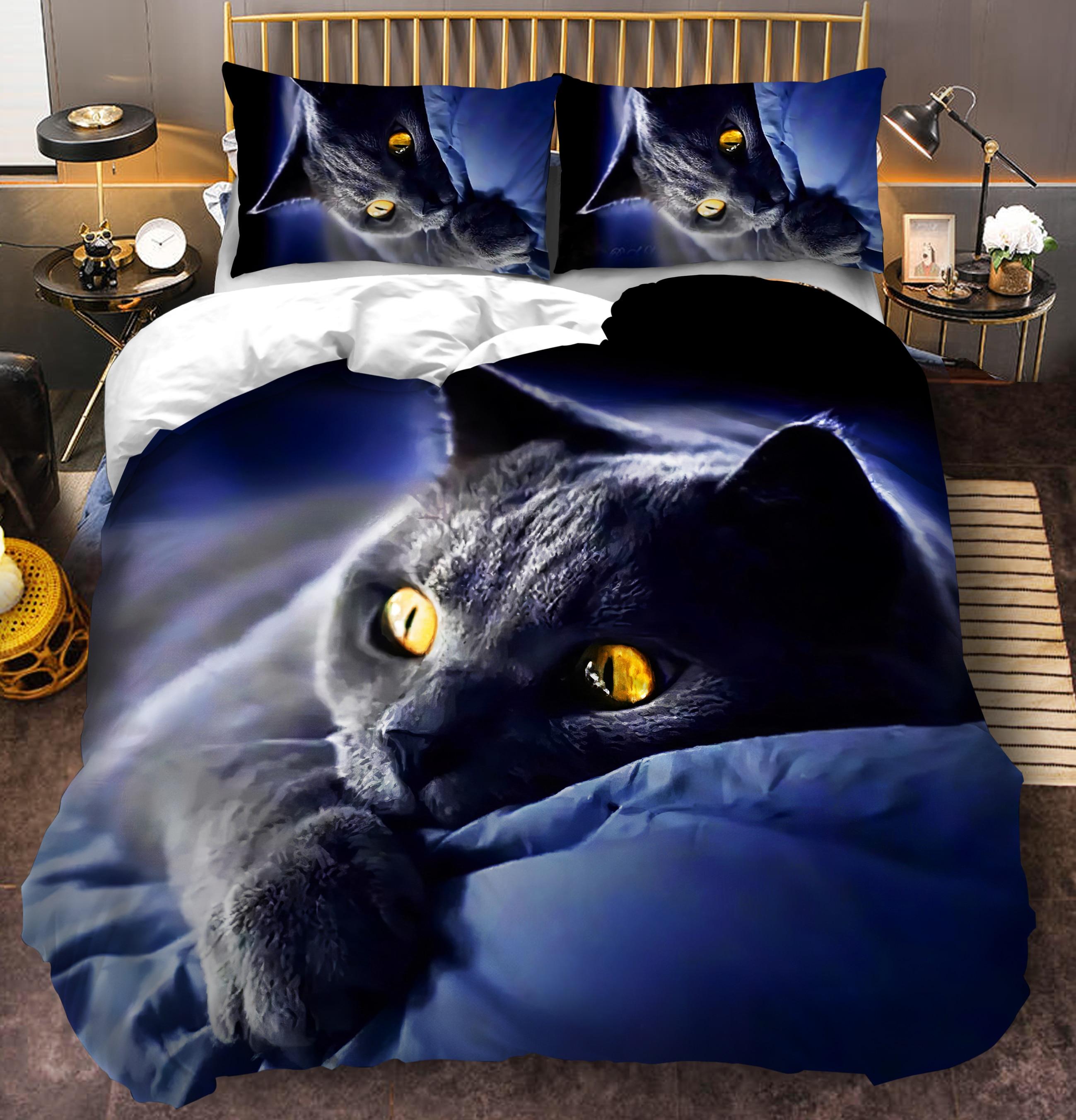 3D Cat Bedding Set for Girls Boys Cute Colorful Cat Pattern Bedspread 3 Piece Bold Color Black Animal Duvet Cover Set