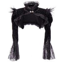 gothic vintage womens tops shawl short coat feather shawl ultra short stand collar flare sleeves party women clothing