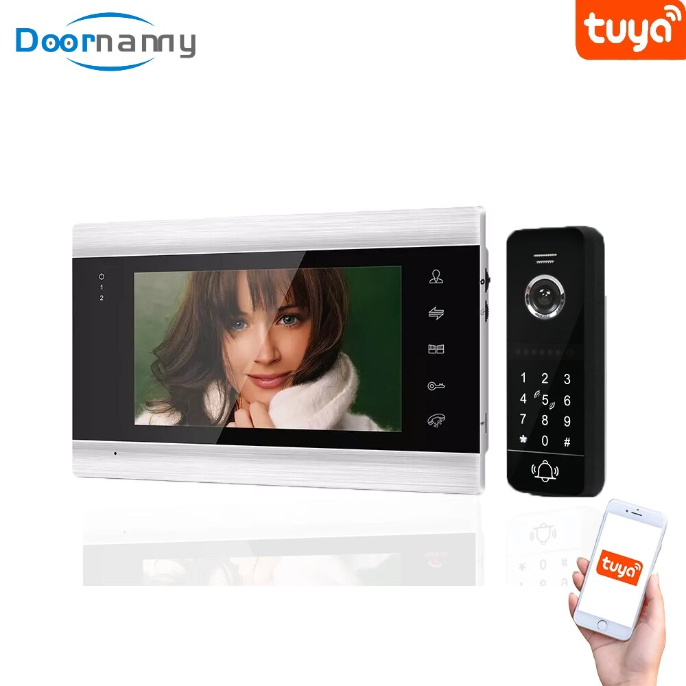 smart video intercom system door lock voip product for moden hotel office apartment waterproof video intercom with door release Doornanny Smart 960p 130° Video Intercom For Home Apartment Video Doorbell Intercom With Lock Remote Access Control System Tuya