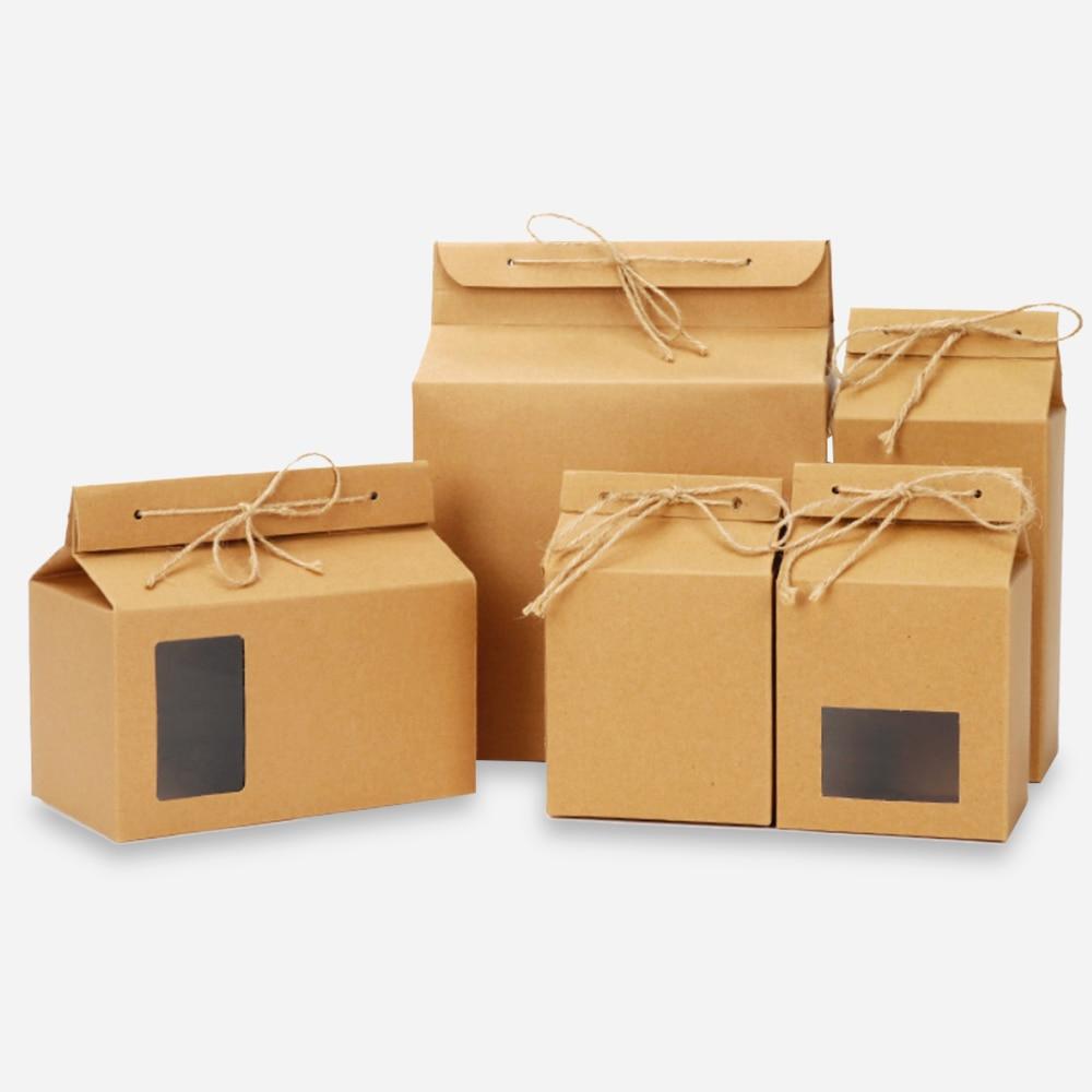 10 pces kraft papel chá pcaking caixa de presente do vintage pastelaria biscoito saco dobrável caixa com corda cozimento cupcake embalagem festa favor