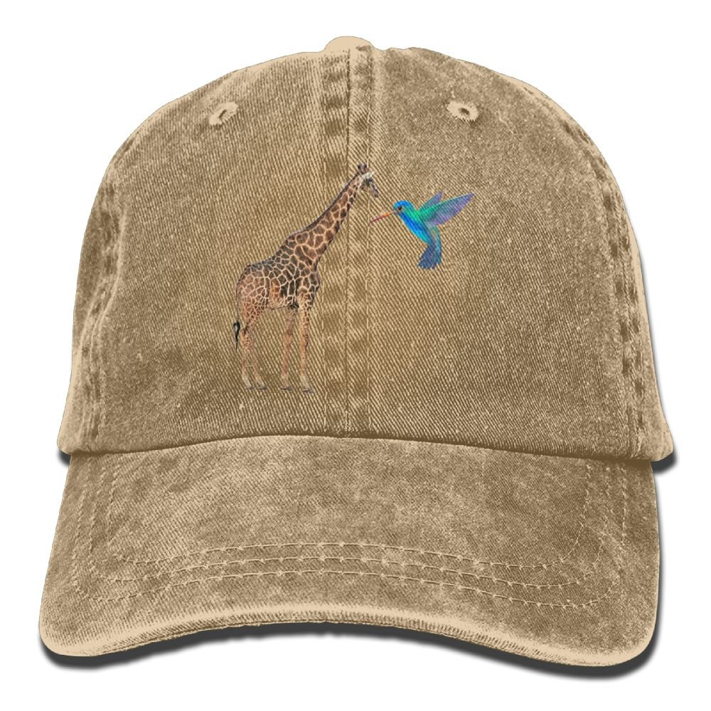 Giraffe and Hummingbird Unisex Cowboy Baseball Cap Dad Hat Trucker Hats
