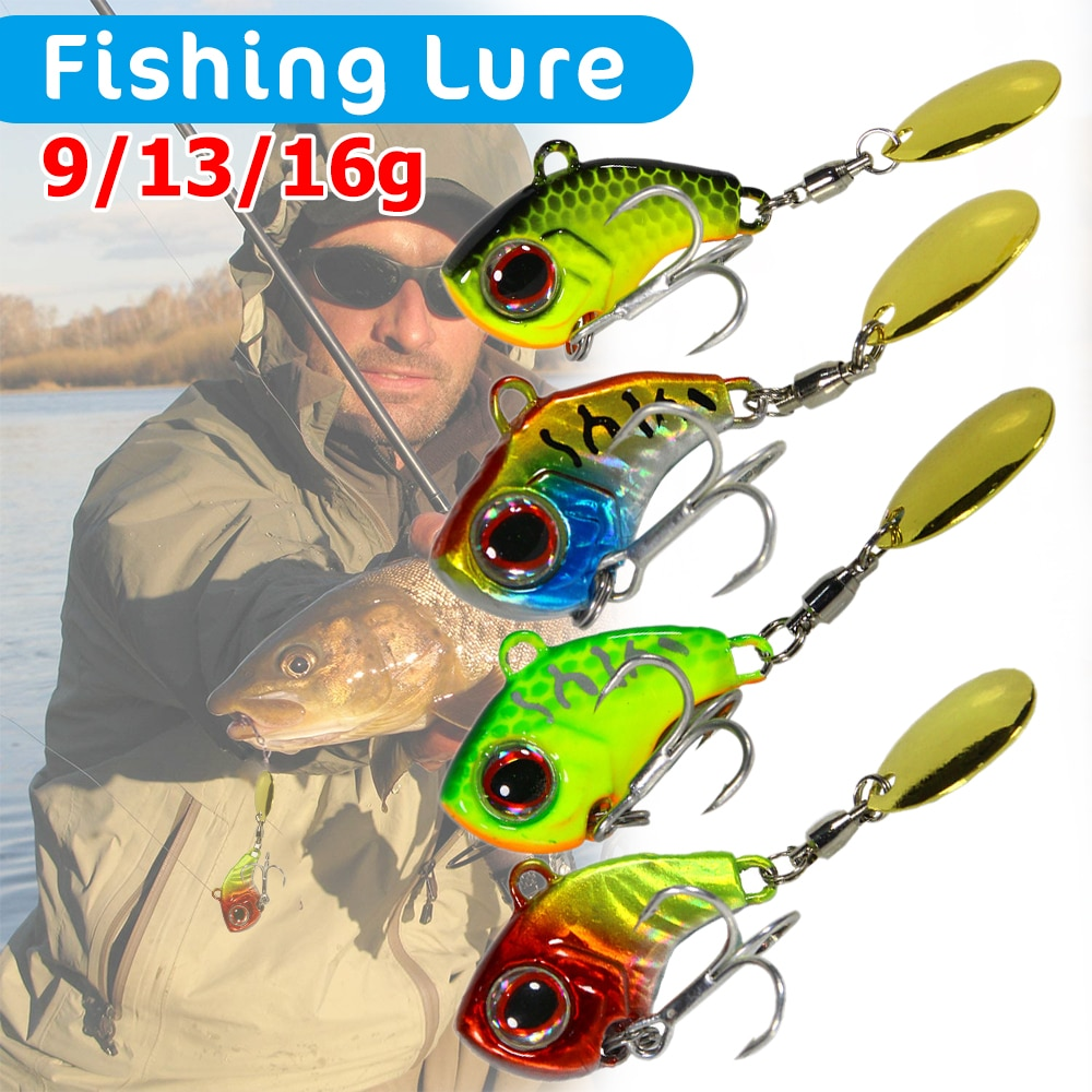 Metal VIB Lure with Rotating Sequin Spoon Spinner Jig Fishing Lure 9g 13g 16g Wobbler Fishing Baits Tackle with BKB Hook full lure kit set worm hook soft bait popper pencil crank wobbler vib minnow frog spinner connector jig fishing tackle box