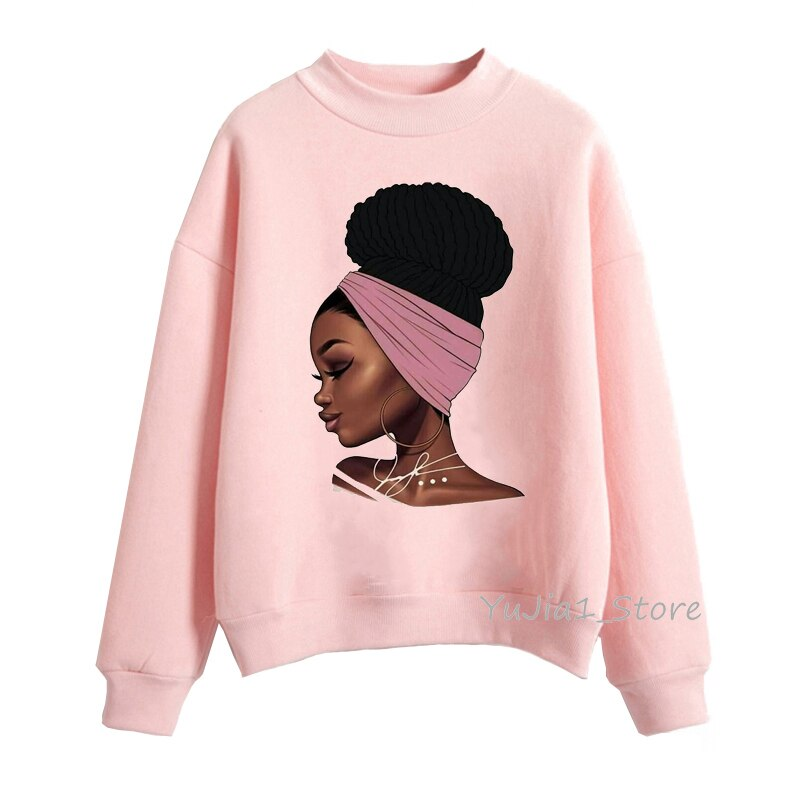 Melanin poppin rosa hoodies roupas femininas bonito preto menina impressão moletom feminino suor femme sudadera mujer 2019 topos