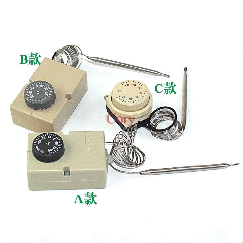 1 unidad de congelador de Dial ajustable-30 a 30 Celsius termostato capilar CA 16A 250V NO NC-30-+ 30 Celsius