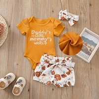 0 24m fashion baby girl summer clothes short sleeve o neck jumpsuit floral print shorts headwear baby meisjes kleding e1