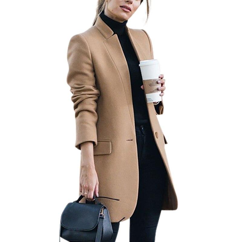 2020 nuevo estilo de lana y mezcla de Otoño de las mujeres OL prendas de vestir chaquetas delgadas elegantes señoras sobretodo t gabardina de talla grande