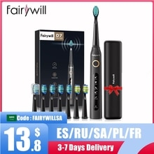 Fairywill โซนิคไฟฟ้าแปรงสีฟัน FW-507 USB ชาร์จผู้ใหญ่กันน้ำอิเล็กทรอนิกส์ฟัน8แปรงเปลี่ยนหัว