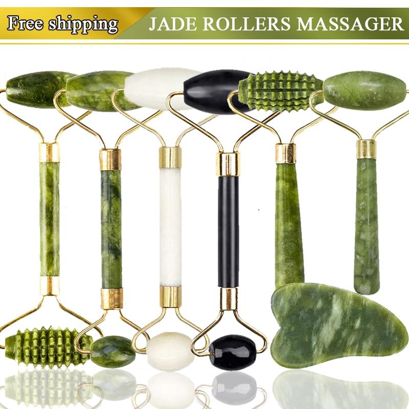 Roller massager For Face Jade Stone Massage Roller Facial Natural Scraper Face lifting Gua Sha Body Back Slimming massage roller