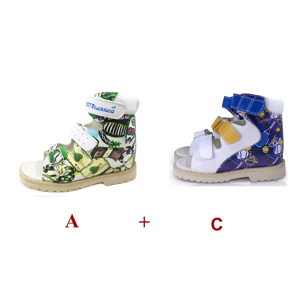 Children Summer Orthopedic Shoes Boys 2 Pairs Casual Anti-Slip for Kids Flatfoot Arch Support Fashion Printed Leather Sandals enlarge