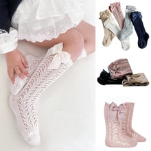 0-5Years Summer Baby Socks With Bow Toddlers Girls Long Sock Knee High Soft Cotton Hollow Out Kids S
