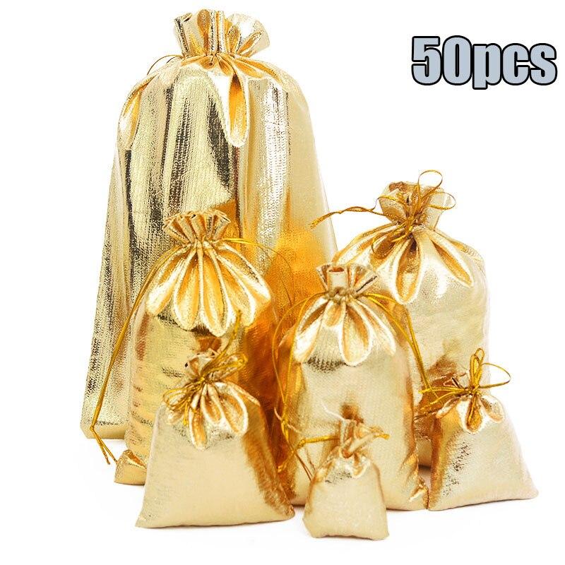 50 unids/bolsa de 7x9cm, 9x12cm, 10x15cm, embalaje de joyería ajustable, bolsa de terciopelo con cordón de colores plata/oro, bolsas y bolsas de regalo de boda