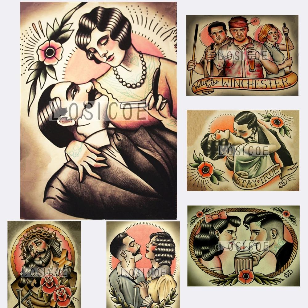 Diseño creativo del tatuaje dibujo tatuaje pintura papel Kraft clásico cartel Arte de pared Flip gráfico pegatinas decoración del hogar