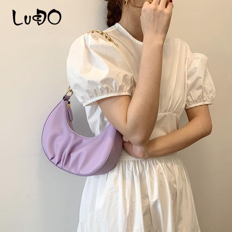 LUCDO Fashion Half Moon Dumpling Women Bag 2020 Summer NEW Underarm Bag Luxury Design High Quality Leather Women Handbag