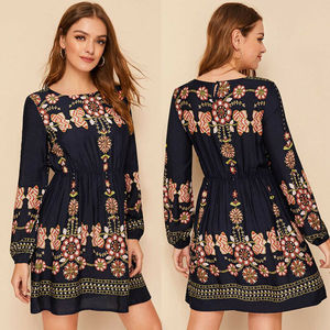 NEW Women Boho Long Sleeve Floral Dress Evening Cocktail Party Casual Mini Dress