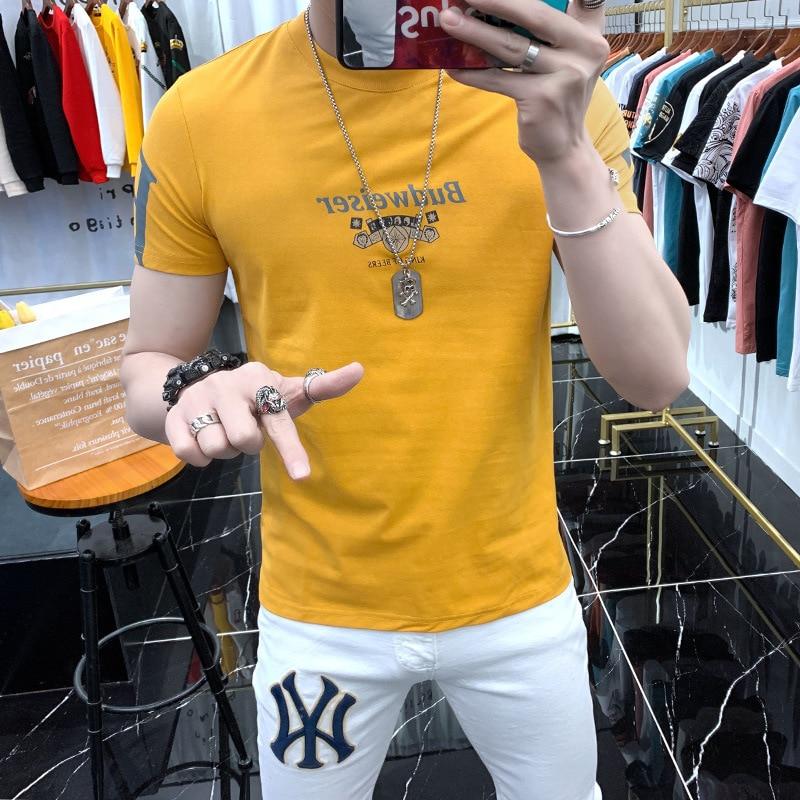 Summer New Fashion Short-sleeved T-shirt Men's Tide Brand Letter Printed T-shirt Top 2021 Net Red Ins Elastic Half Sleeve