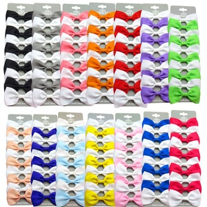 20PCS/Lot Cute White Interval With Hairpins Grosgrain Ribbon Bow Clips 2020 Scrunchie Korean CLIP Hair Accessories For Baby Girl
