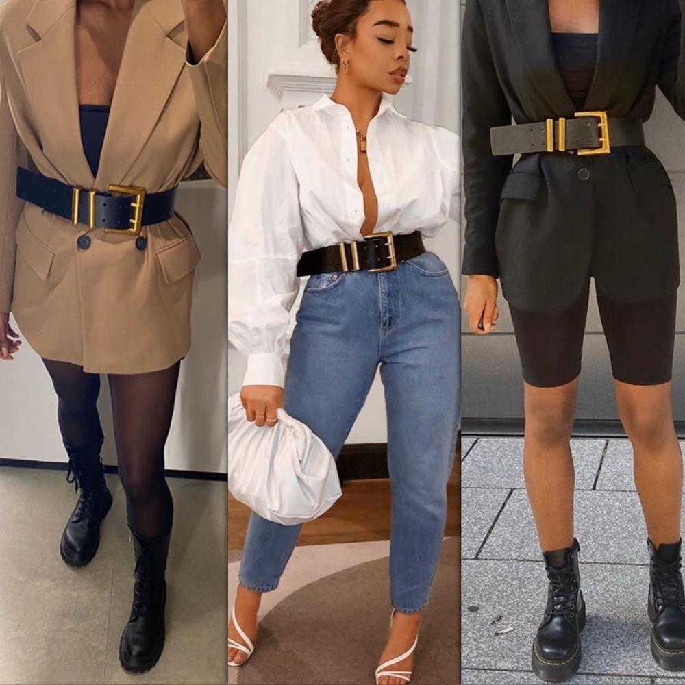 Dvacaman-ceinture cuir véritable   Nouvelle mode, ZA ceinture Double couche ardillon boucle femmes INS Style ceinture accessoires de taille pour manteau, 2020