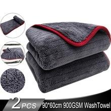 Премиум класса из микрофибры 900GSM с отделкой, супер абсорбент Полотенца Ультра мягкий обтекаемой формы полотенце для мытья и сушки автомобиля Полотенца 60*90 см