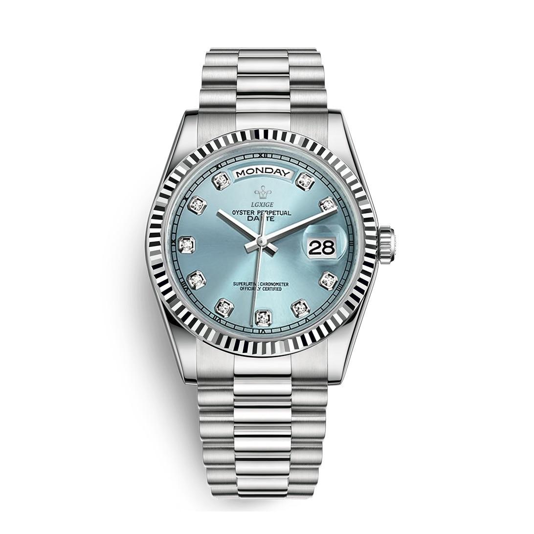 2019Lgxige reloj azul informal para hombre, marca de lujo, diamantes, reloj de acero inoxidable, reloj de pulsera de hombre de negocios resistente al agua, de cuarzo