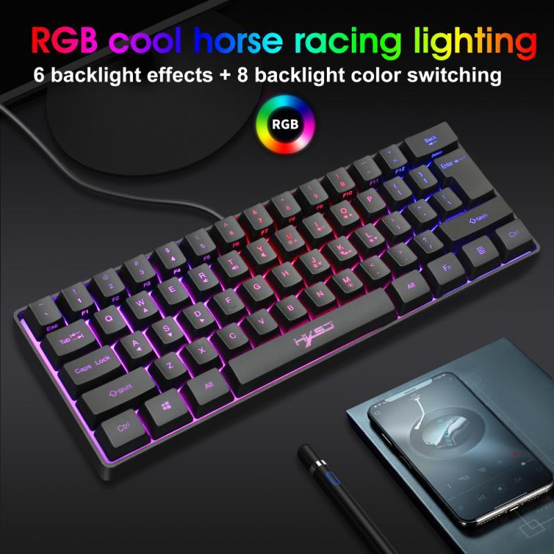 V700 الألعاب لوحة المفاتيح مصابيح يندمج بها اللون الأحمر والأخضر والأزرق 61 مفتاح لوحة المفاتيح متعددة اختصار مفتاح مجموعات لوحة مفاتيح صغيرة ...